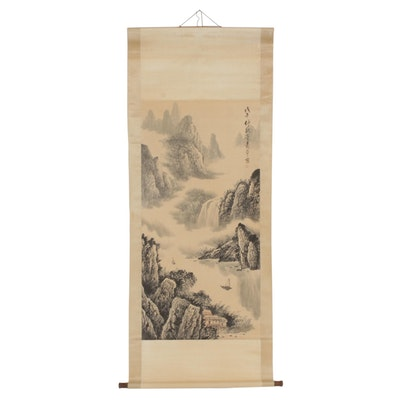 Chinese Ink Wash and Watercolor Painting of Mountain Landscape on Hanging Scroll