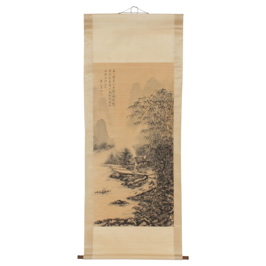 Chinese Landscape Ink Wash Painting on Hanging Scroll