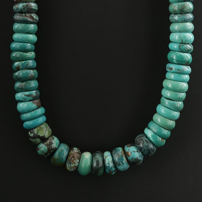 Beaded Turquoise Necklace With 900 Silver Clasp