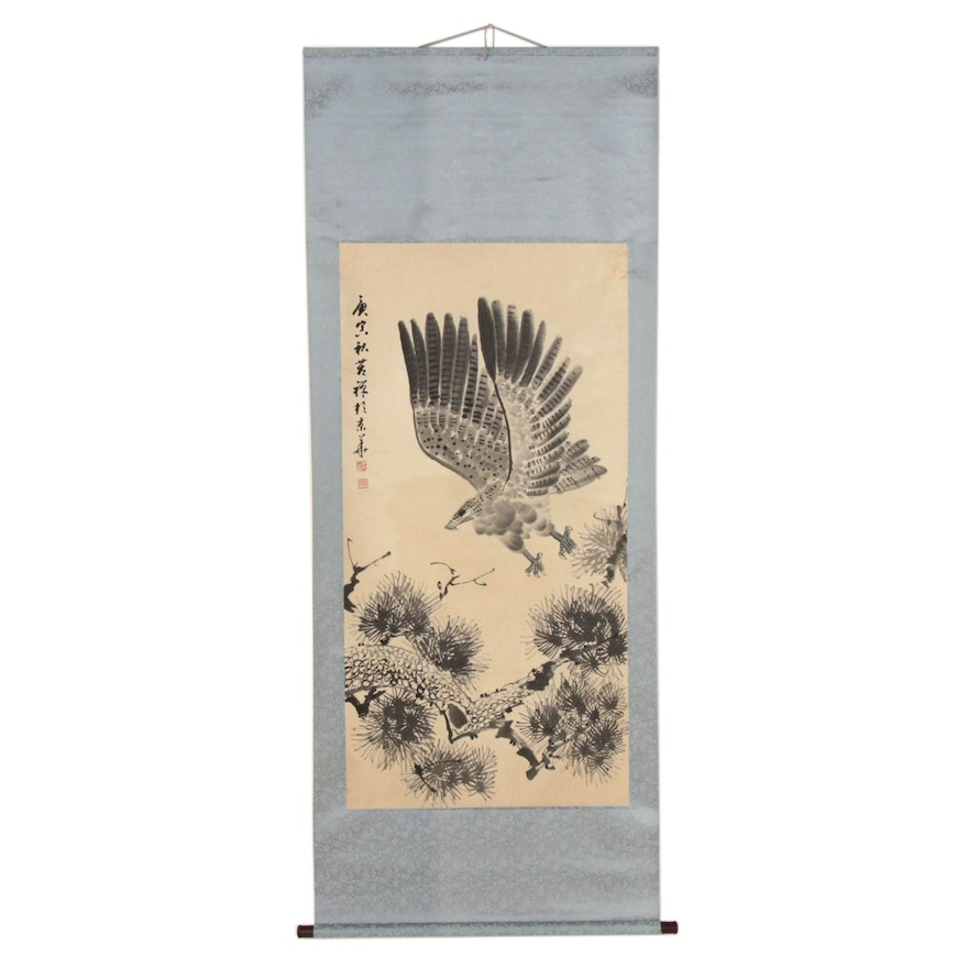 Chinese Eagle Gouache and Watercolor Hanging Scroll