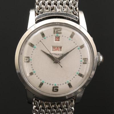 Vintage Wittnauer Calendar Stainless Steel Automatic Wristwatch