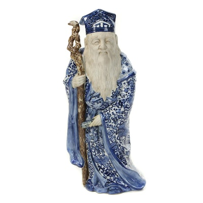 Chinese Blue and White Porcelain Elder Statuette