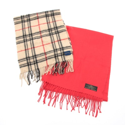 Cashmere Fringed Scarves Including Solid Red and Charter Club Check