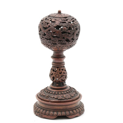 Chinese Dou Altar Vessel Depicting Dragons and Clouds in Copper Finish
