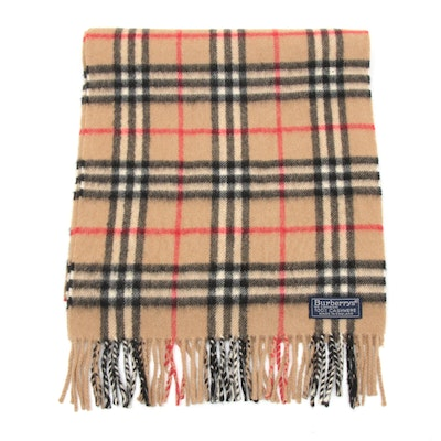 "Burberry Cashmere ""Nova Check"" Fringed Scarf, Made in England, Vintage"