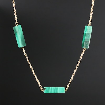 14K Yellow Gold Malachite Necklace