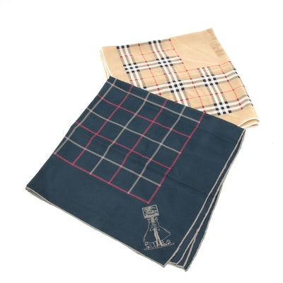 Burberry Plaid Silk Scarves, Vintage and Contemporary