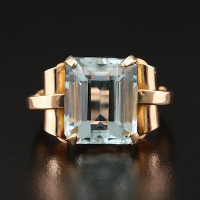 14K Yellow Gold 7.29 CT Aquamarine Ring