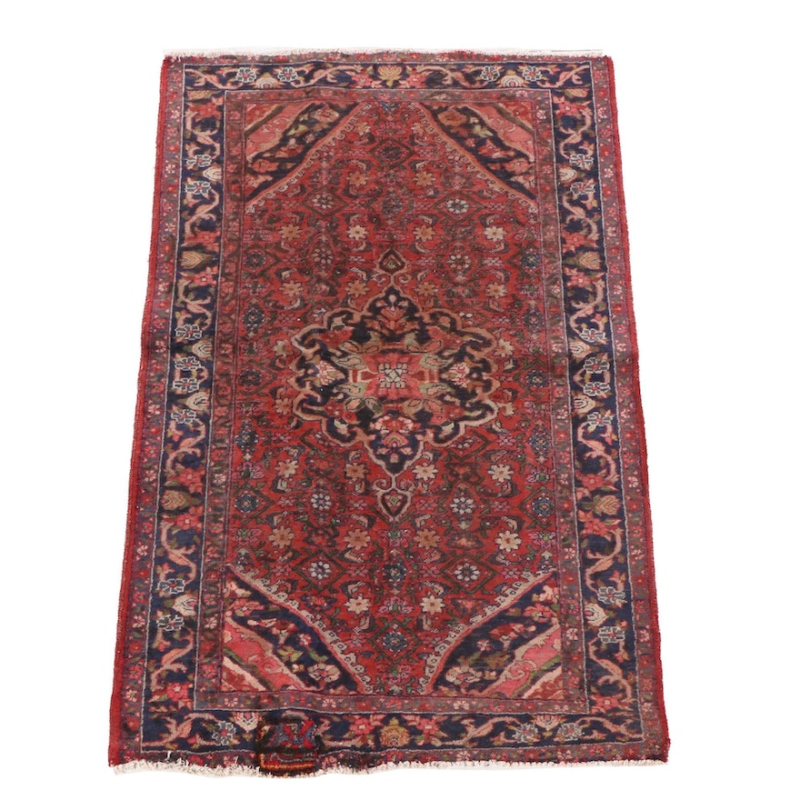 4'0 x 6'6 Hand-Knotted Persian Hamadan Wool Rug