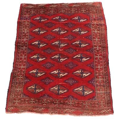3'3 x 4'2 Hand-Knotted Persian Turkmen Tekke Bokhara Wool Rug