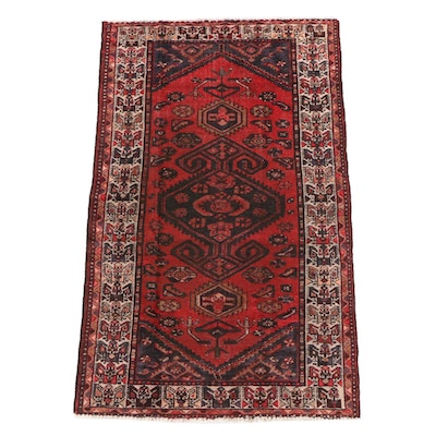 4'1 x 6'9 Hand-Knotted Persian Malayer Wool Long Rug