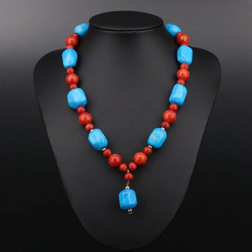 14K Yellow Gold Magnesite and Coral Necklace
