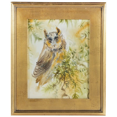 Watercolor Painting of Horned Owl