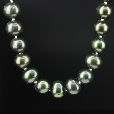 Green Cultured Pearl Necklace With 14K Yellow Gold Clasp
