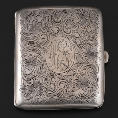 Watrous Mfg. Co. Etched Sterling Cigarette Case, Early to Mid 20th Century