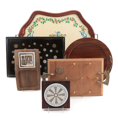 Couroc and Ozark Walnut Kitchen Decor Including Serving Trays with Trivets