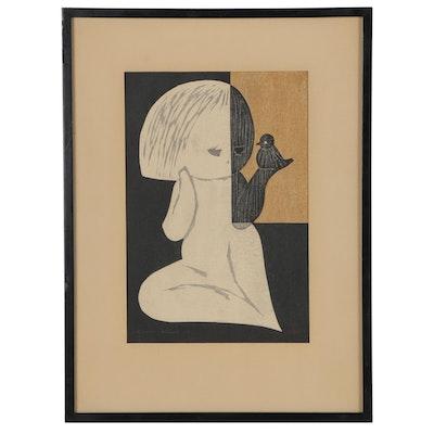 "Kaoru Kawano Woodblock Print ""Little Bird (Young Girl and Bird)"""