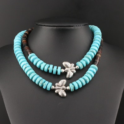 Sterling Silver Howlite and Shell Beaded Necklace