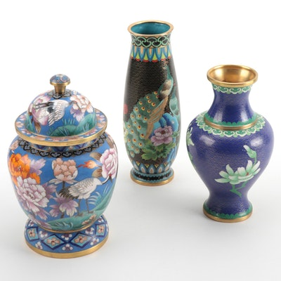 Chinese Cloisonné Enamel Vases and Lidded Jar