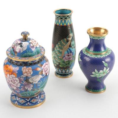 Chinese Cloisonné Enamel Vases and Lidded Jar