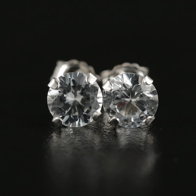 10K White Gold White Sapphire Stud Earrings
