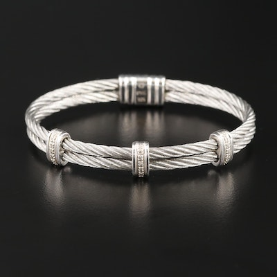 Stainless Steel Double Cable Bracelet with Sterling Silver Diamond Accents