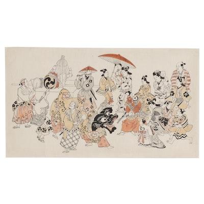 "Ukiyo-e Woodblock after Sugimura Jihei ""New Year's Lion Dance"""