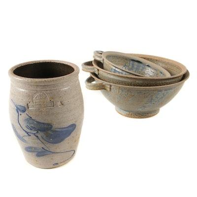 Rowe Pottery Salt Glazed Stoneware Crock with Other Pottery Bowls
