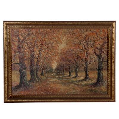 Raphael Senseman Autumn Landscape Oil Painting, Early 20th Century