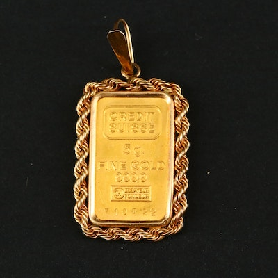 Five Gram Credit Suisse Gold Ingot in 14K Yellow Gold Pendant