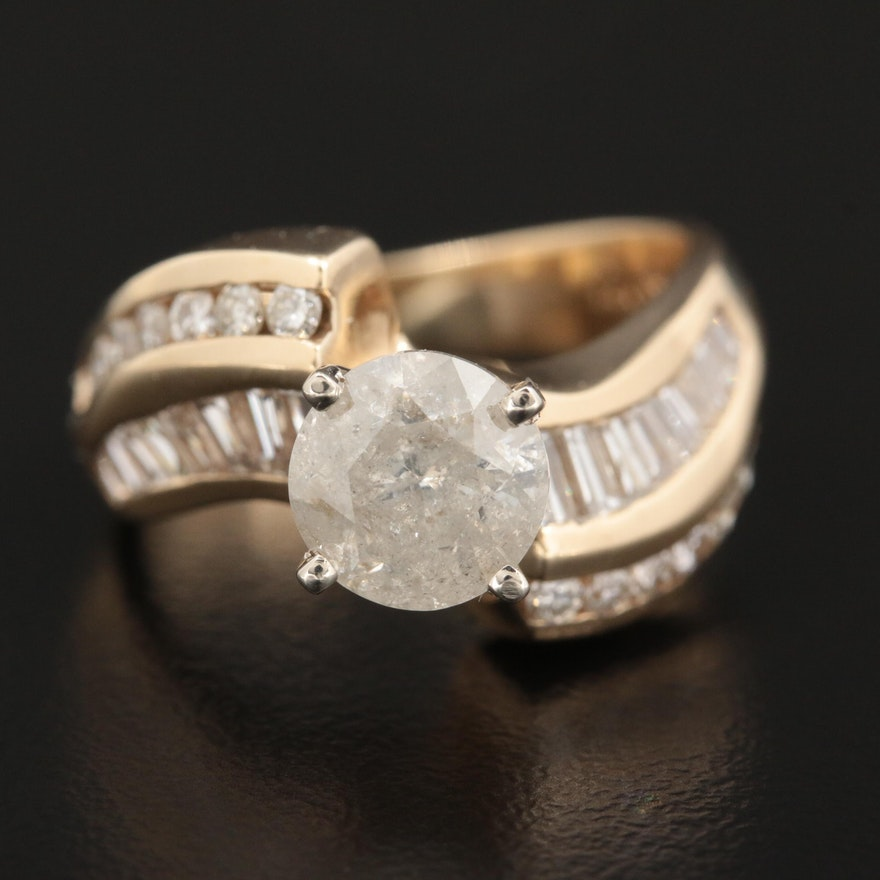 14K Yellow Gold 2.31 CTW Diamond Bypass Ring