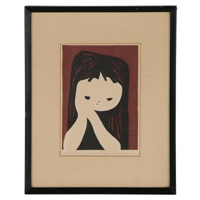 Kaoru Kawano Sōsaku Hanga Woodblock of Girl, Mid 20th Century