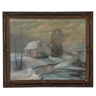 Winter Landscape Oil Painting, Late 19th Century