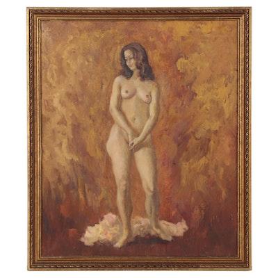 Ernie Henfeld Female Nude Figure Oil Painting, 1971