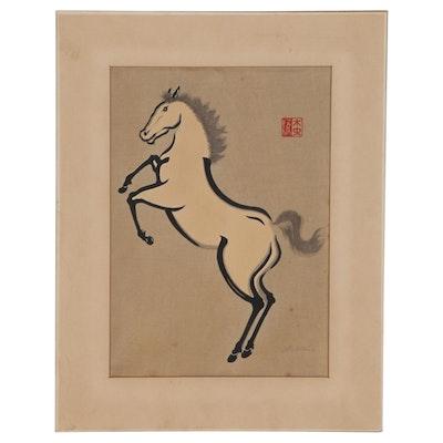 "Yoshijirō Urushibara Woodblock ""Horse"", Early 20th Century"