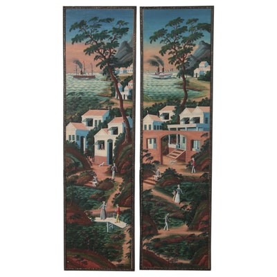 Folk Art Mural Oil Paintings of Steamboat Port Villages