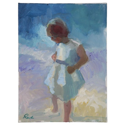 Sally Rosenbaum Oil Painting of Girl at Shore