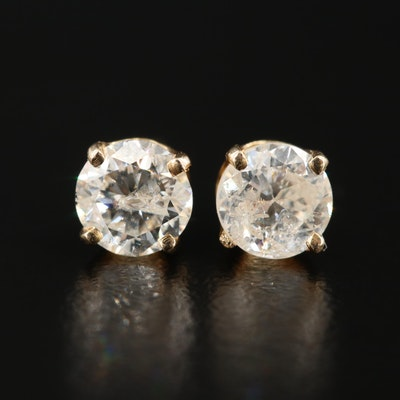 14K Yellow Gold 0.90 CTW Diamond Solitaire Stud Earrings