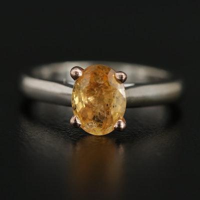 14K White Gold 1.25 CT Sapphire Ring