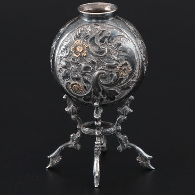 European 800 Silver Bud Vase with Gilt Accents