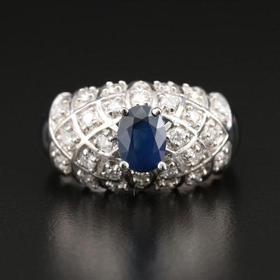 14K White Gold 1.01 CT Sapphire and Diamond Ring