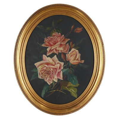 Still Life Oil Painting of Roses, Early to Mid 20th Century
