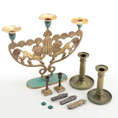 Jewish Lion of Judah Shabbat 3 Arm Menorah with Candle Holders