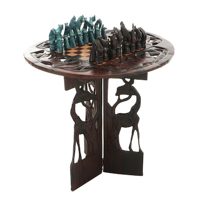 African Carved Hardwood Folding Chess Table