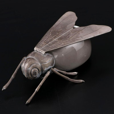Rosenthal Porcelain and 800 Silver Figural Bee Honey Pot, circa 1900
