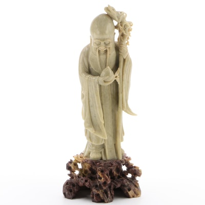Chinese Carved Soapstone Elder Figure