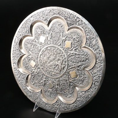 Indo-Persian Silver Plate Repoussé Charger, Early 20th Century