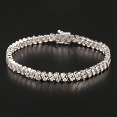 18K White Gold 3.51 CTW Diamond Bracelet