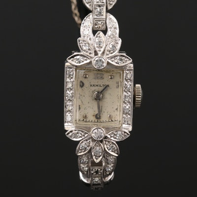 Hamilton Platinum and Diamond Stem Wind Wristwatch, Circa 1950
