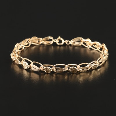 14K Yellow Gold Floral Bracelet
